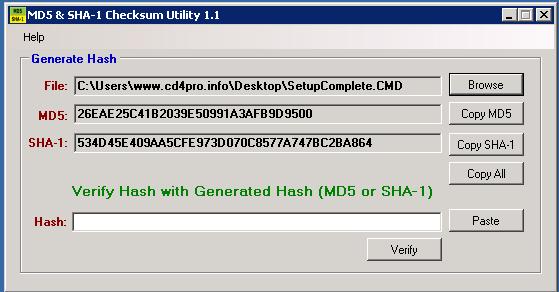 MD5 & SHA Checksum Utility 1.1,Kiểm tra mã MD5 và SHA-1 của file dễ dàng