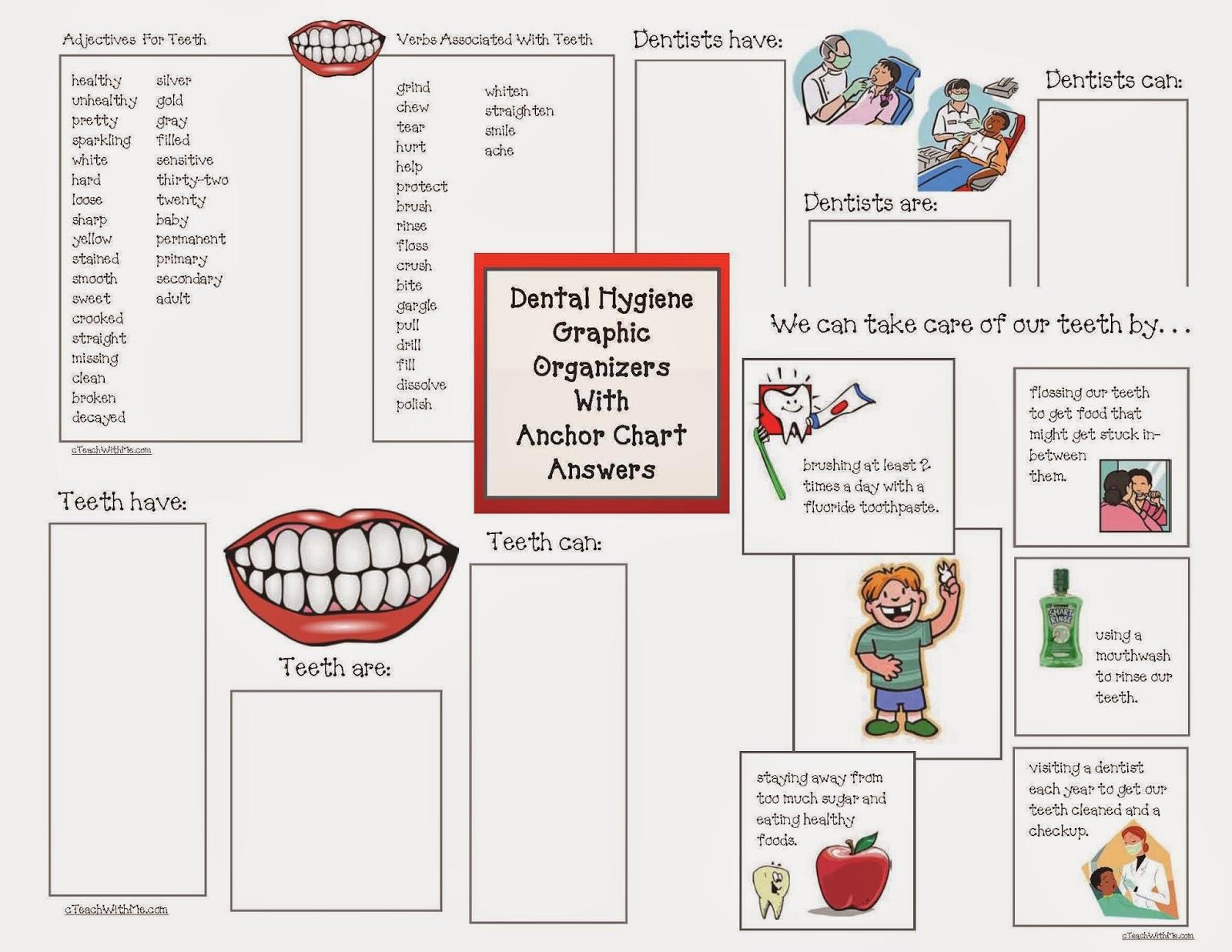 Classroom Freebies Dental Hygiene Graphic Organizers