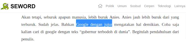 Seword menebar hoax misleading menuduh google berpolitik