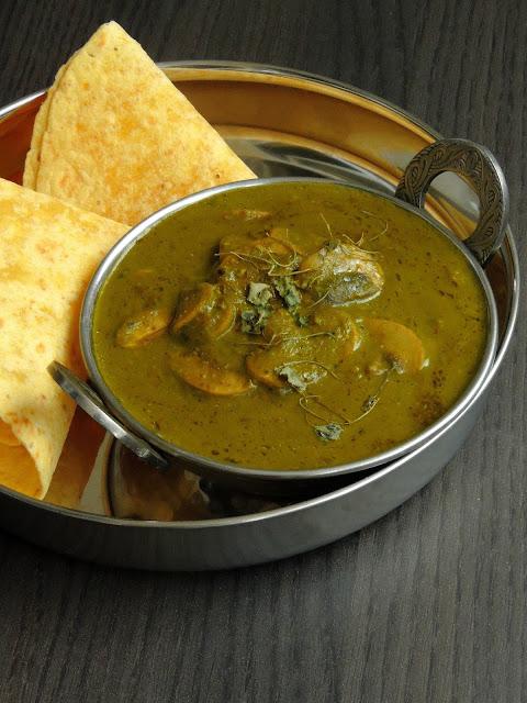 Kashmiri Saag Haddar Yakhni ,Kashmiri Mushroom in Spinach Sauce
