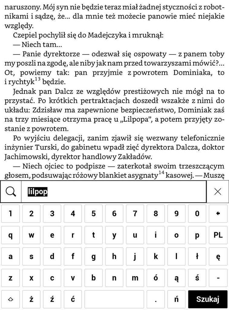 PocketBook Touch HD 3 – wpisywanie wyszukiwanej frazy w tekście e-booka