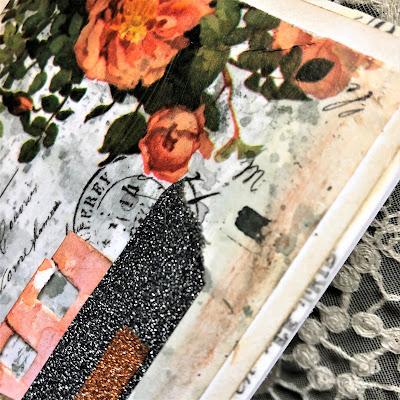 Sara Emily Barker https://sarascloset1.blogspot.com/2019/03/super-easy-tim-holtz-floral-collage.html Vintage Card Tutorial #timholtz #idealogycollagepaper #floral #ranger #distress 4
