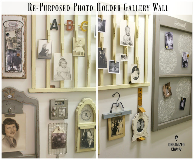 Adding Interest to a Boring Hallway Wall with Repurposed Photo Holders organizedclutter.net