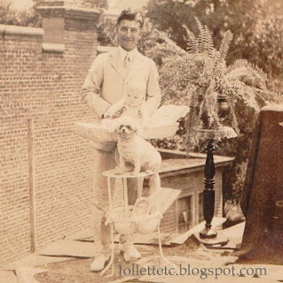 John Jr in the basin about 1917; man unknown https://jollettetc.blogspot.com