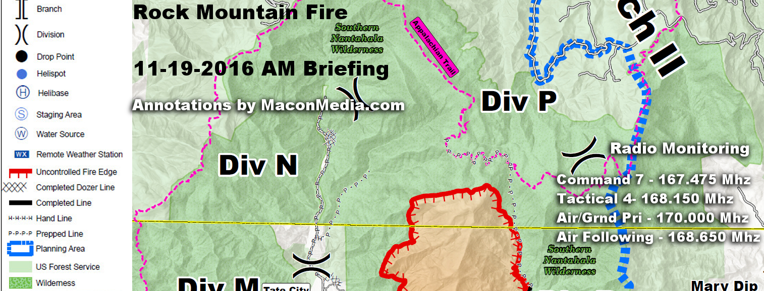 Rock Mountain Fire  North Sector Detail with annotations  Nov 19th AM Briefing