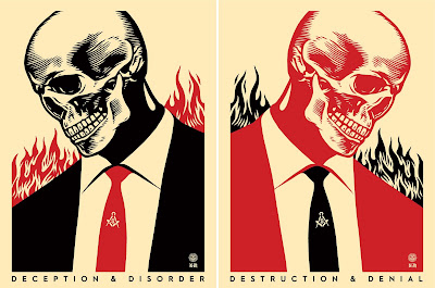 Obey Giant Destruction & Denial Screen Print Diptychs by Shepard Fairey x Francisco Reyes Jr.