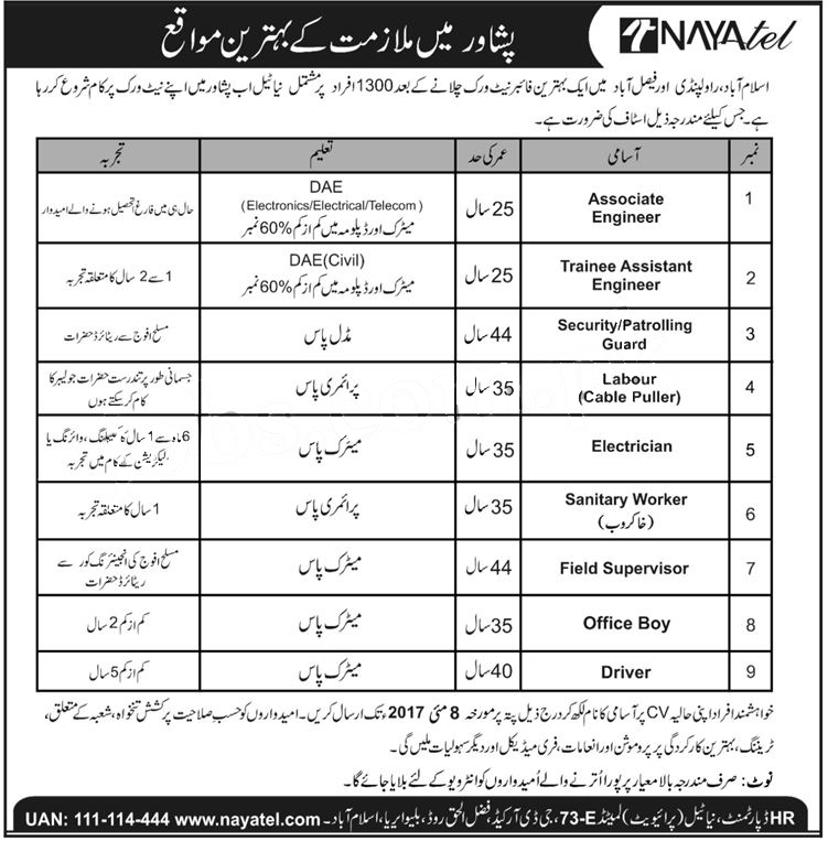 jobs in nayatel pvt limited Rawalpindi Islamabad Faisalabad 2 may 2017