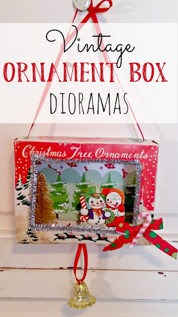 Christmas dioramas made with vintage ornament boxes