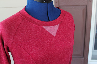Lola from Victory Patterns made from a sweatshirt knit - neckline detail