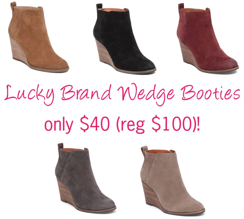 Lucky Brand Yezzah Suede Booties for only $40 (reg $100)