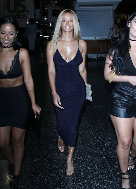 Draya Michele in Long Dress at the OHM Nightclub in Los Angeles