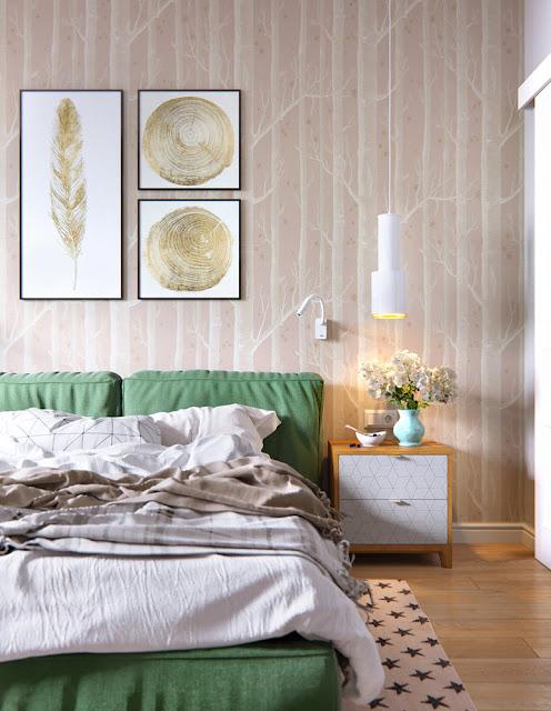 Tapet cu copaci și pat verde
