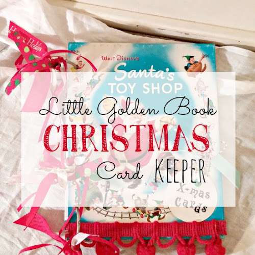 Recycled Little Golden Book Christmas Card Keeper