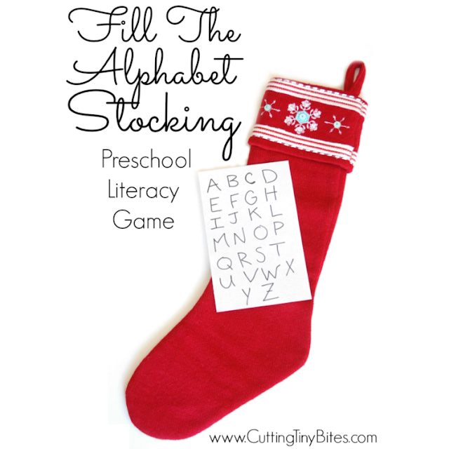 Fill the Alphabet Stocking- Quick and easy Christmas literacy scavenger hunt activity for toddlers or preschoolers. No prep required!