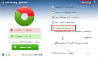 تنزيل برنامج تسريع الرام وتحسين اداء الجهاز Wise Memory Optimizer