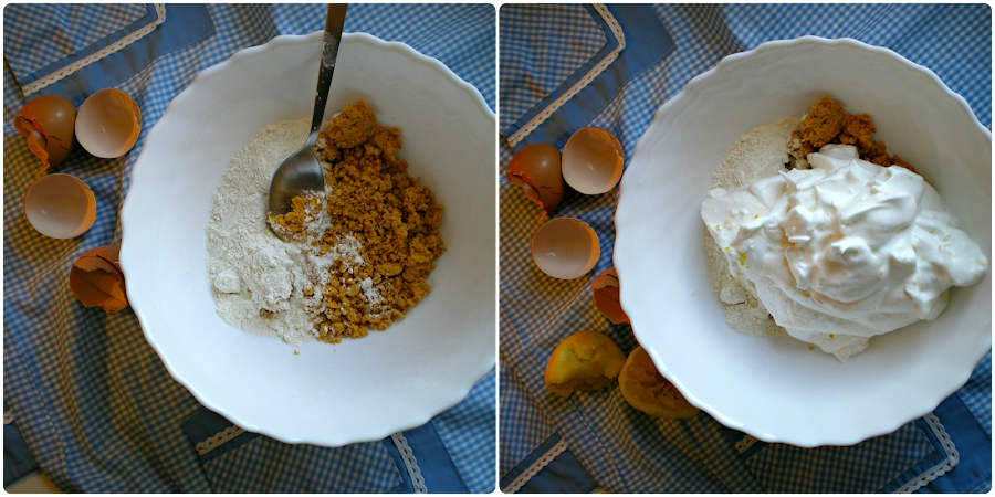 Pastel de melocotón con pipas de calabaza: Elaboración