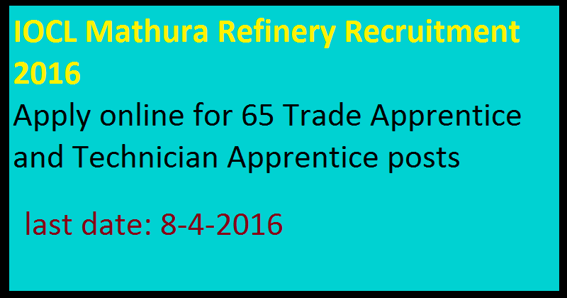 IOCL Mathura Refinery Recruitment 2016 Apply online for 65 Trade Apprentice and Technician Apprentice posts