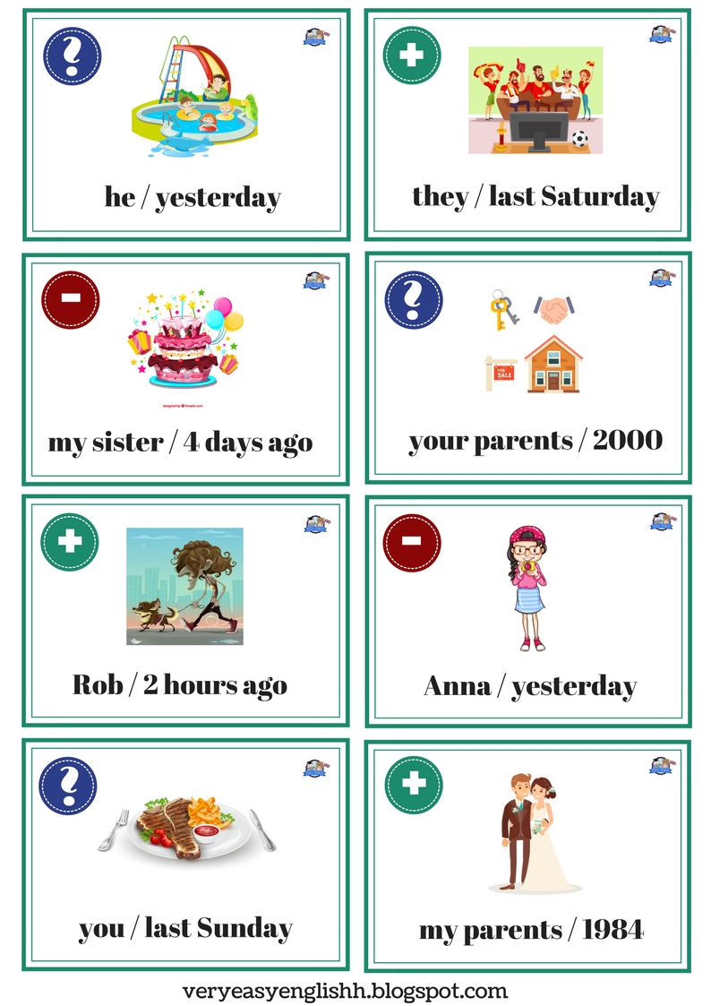 easy english past simple  speaking cards