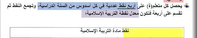كيفية إدخال نقط مادة التربية الاسلامية وفق المنهاج المنقح في مسار
