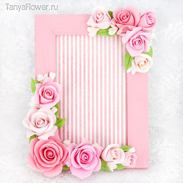 цветочная фоторамка ручной работы из полимерной глины