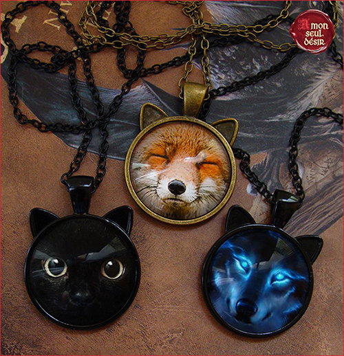 collier animal totem chat loup renard médaillon pendentif gardien protecteur guardian animal spirit necklace cat fox wolf