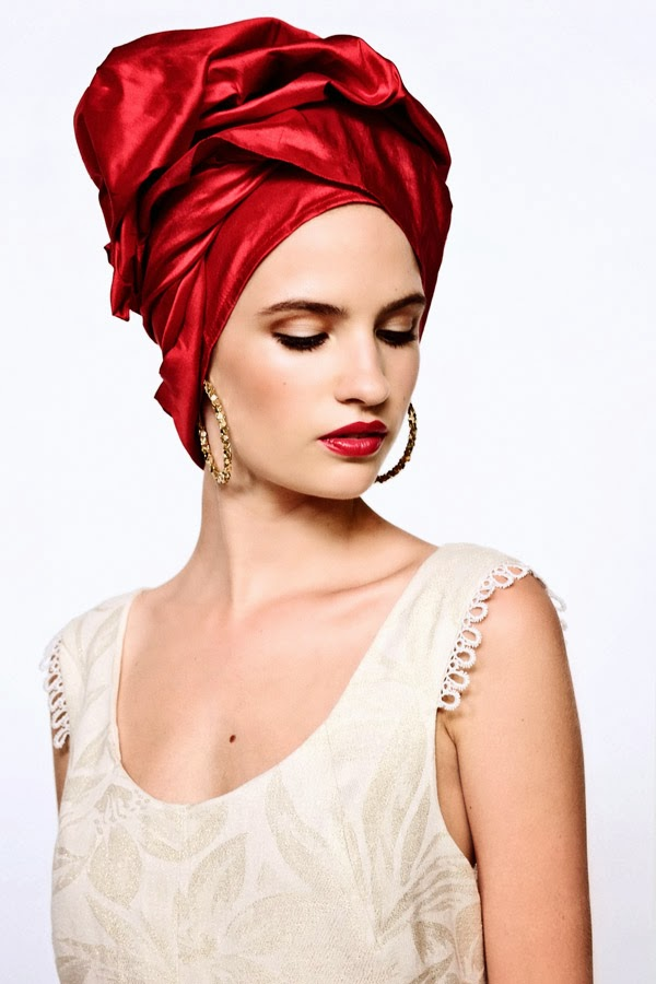Red Turban, woven cream dress - Women's Fashion, White Background Studio Photography by Kent Johnson.