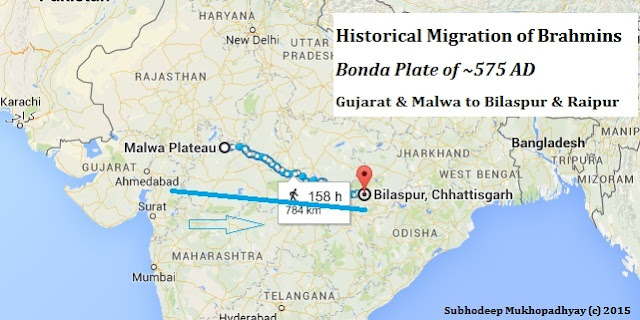 Migration of Brahmins as per Bonda Plates