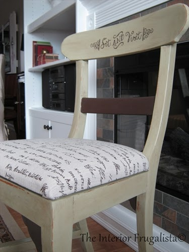 Close up of a chair makeover for my Mom's birthday