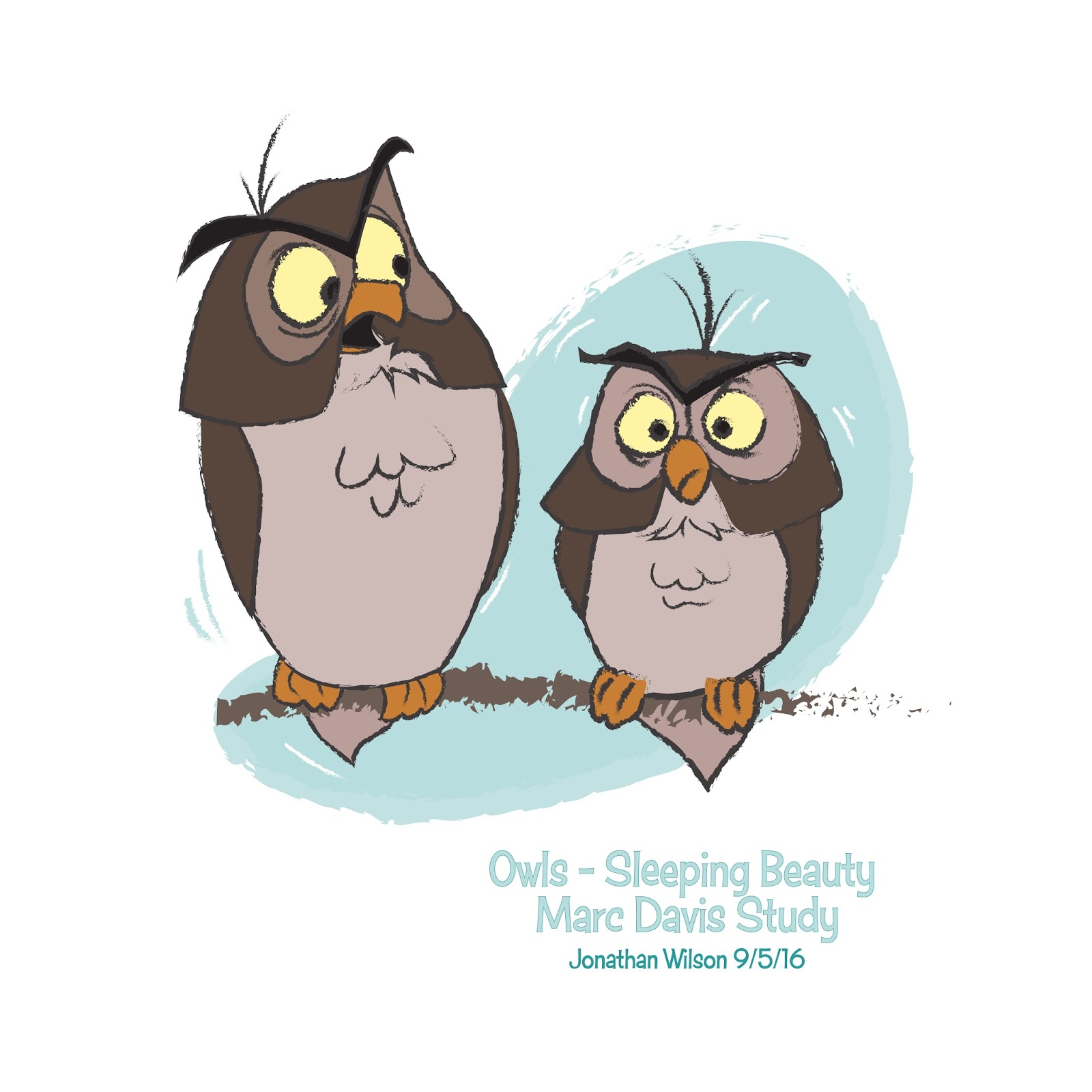 Disney Character Design Study : Owls sleeping beauty marc davis study jonathan