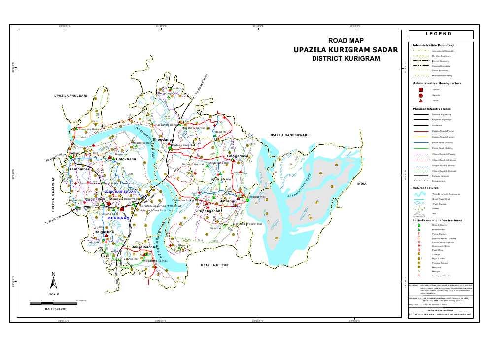 Kurigram Sadar Upazila Road Map Kurigram District Bangladesh