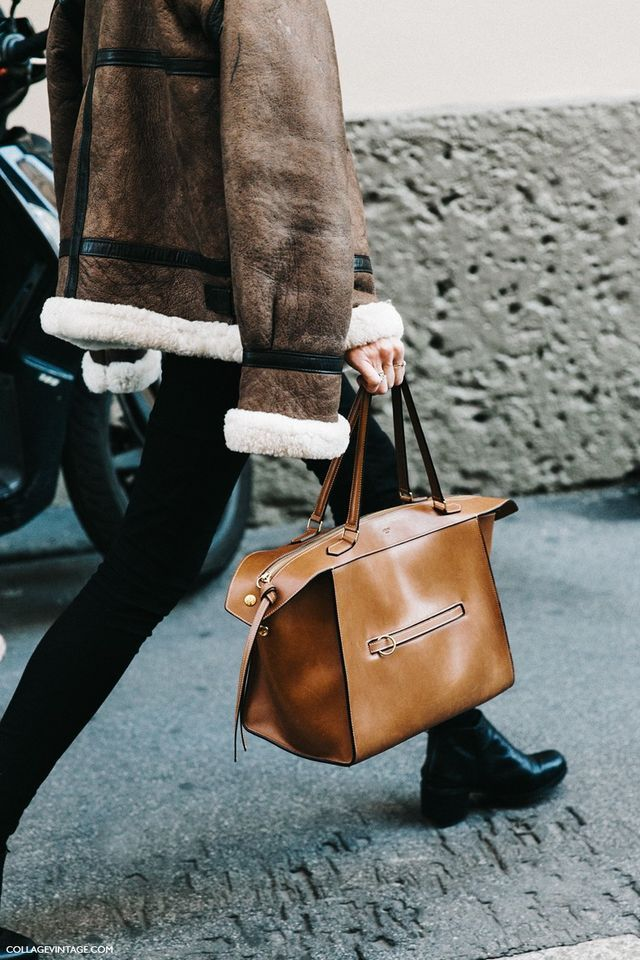 Shearling Aviator Jacket - Celine Bag - Collage Vintage, Fashion Week