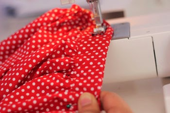 sew on elastic of the waistband
