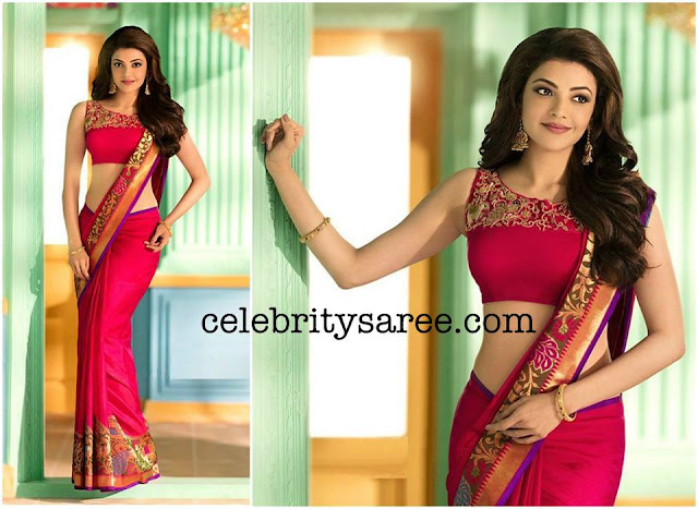 Kajal Agarwal Red Traditional Saree