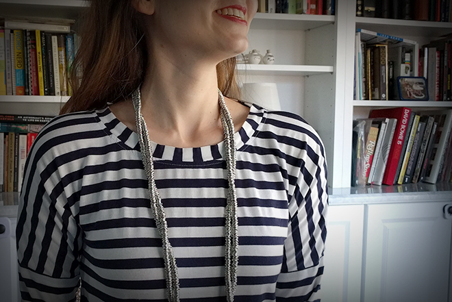 The neckline of the Sew Over It Molly top is somewhere between a scoop neck and a boat neck.