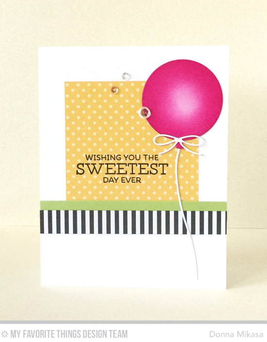 Handmade card from Donna Mikasa featuring Gumball Greetings stamp set, Big Birthday Balloons and Blueprints 26 Die-namics, and English Brick Wall stencil #mftstamps