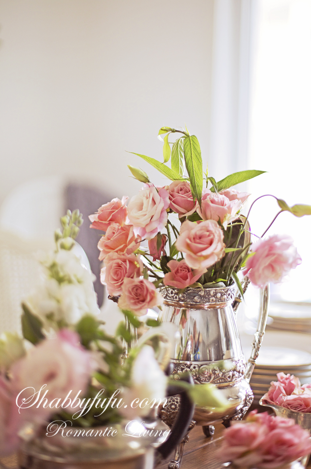 pink roses in a silver pot