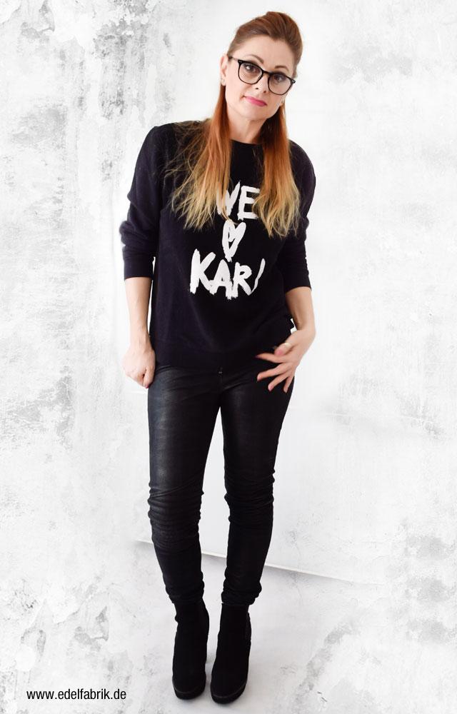 schwarzes Karl Lagerfeld Sweatshirt, Black meets Black, Ü40 Look