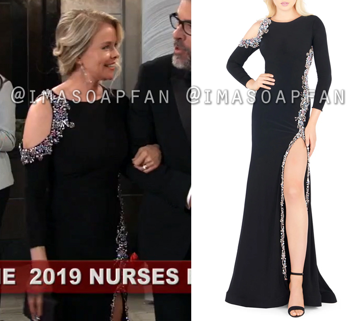 Felicia Scorpio, Kristina Wagner, Beaded Black Gown with Open Shoulder, Nurses Ball, General Hospital, GH