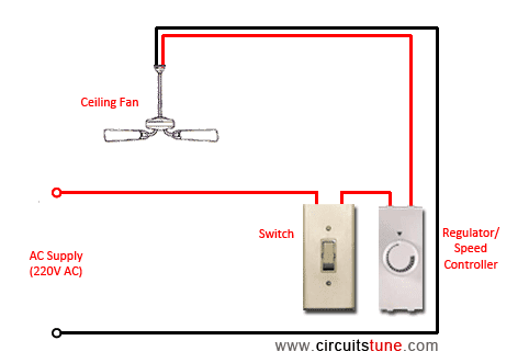 Ceiling fan wiring diagram  with capacitor connection
