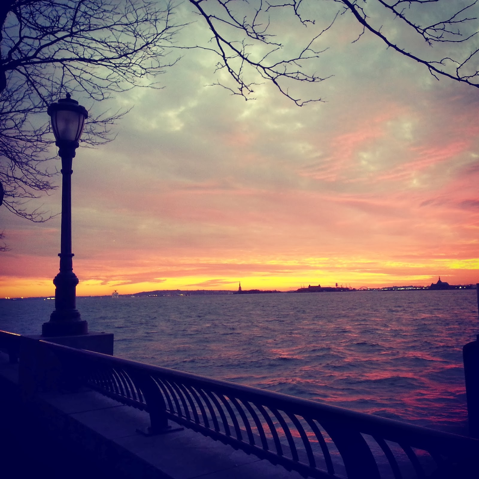 "Sunset from the Hudson River Esplanade, NYC  |  ""It all melts away"" on http://www.afeatherynest.blogspot.com"