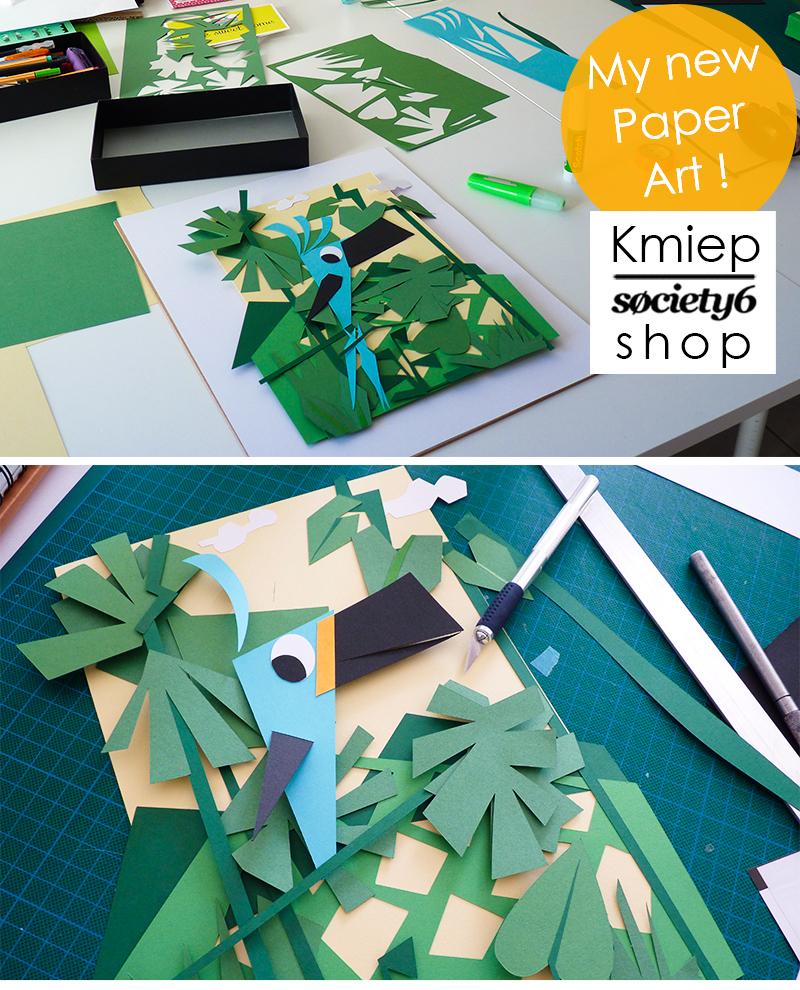 Voici mon atelier où je réalise mes illustrations en papiers découpés. ici mes éléments papiers ne sont pas encore collés