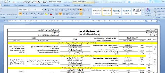 التوزيع السنوي للمستوى الاول اللغة العربية 2019