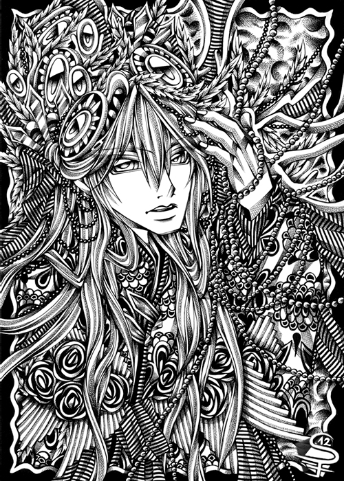 10-Jewel-Forest-Sandra-Filipova-DarkSena-Manga-Black-and-White-and-Colour-Detailed-Drawings-www-designstack-co