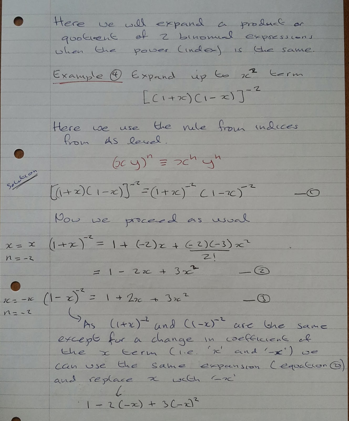 A Level Maths Notes: A2 Binomial Expansion: combinations