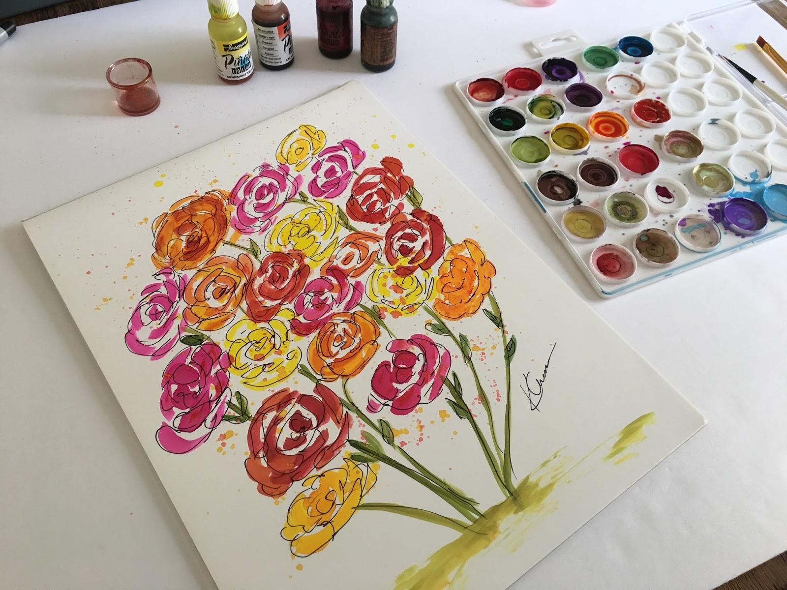 kellie chasse fine art alcohol ink flower illustration painting