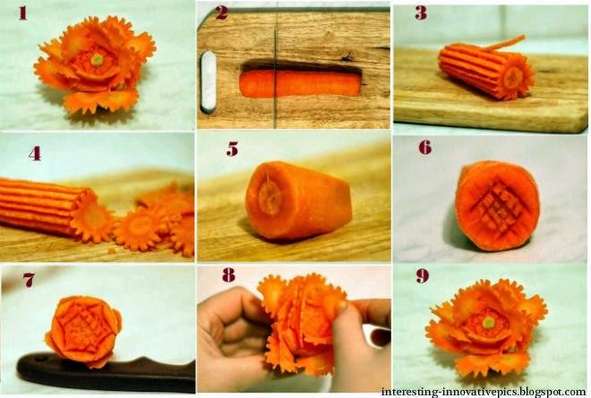 Diy veggie flower art from carrots creative things