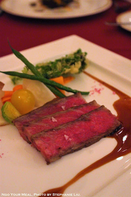 Roasted Kuroge Wagyu Beef topped with Madeira Sauce and Pink Crystal Salt at Magellan's in DisneySea, Tokyo, Japan