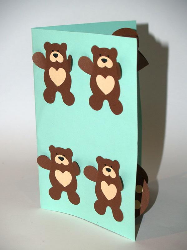 tarjeta pop up osito teddy frente