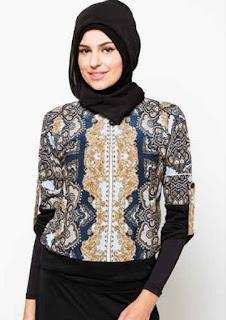 Baju batik muslim atasan lengan pendek