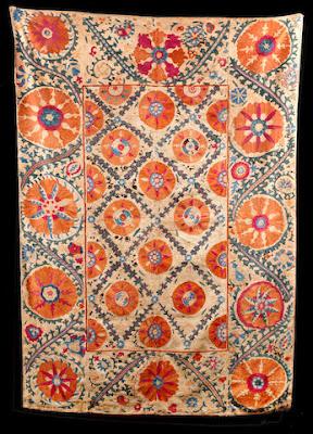 Silk Linen Textile Suzani from Uzbekistan